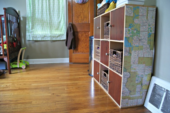 map covered furniture